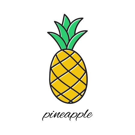 Hand drawn pineapple in doodle style. Vector illustration. Sketch Ilustração