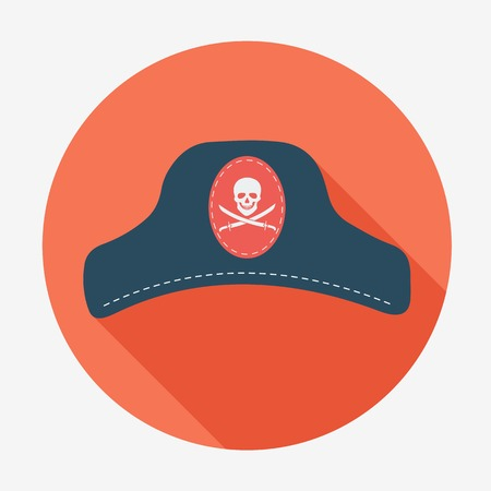 captain hat: Pirate theme icon,captain hat. Flat design vector illustration. Long shadow