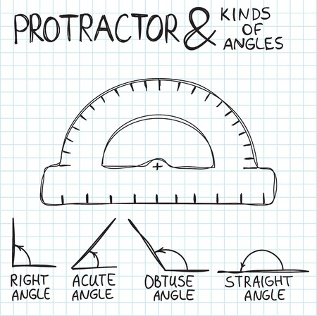 angles: Hand-drawn protractor and angles. Vector illustration. Doodle or sketch style