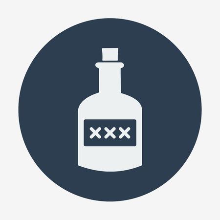 spirituous: Pirate theme icon,bottle of rum. Flat design vector illustration.