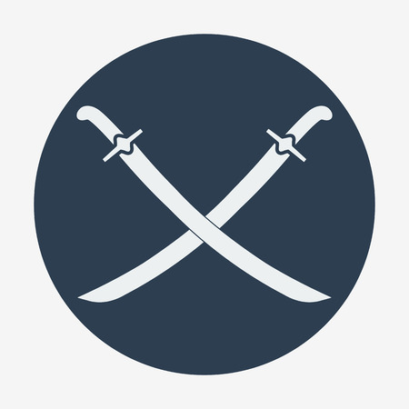 Pirate theme icon,two crossed sabers. Flat design vector illustration. Vector