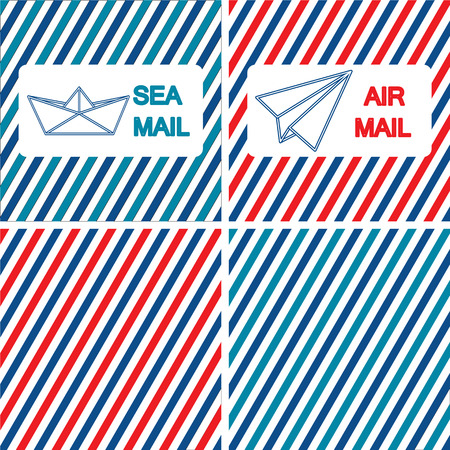 Set of air and sea mail vector illustrations on the striped background. Flat style Illustration