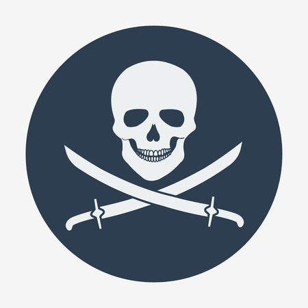 Pirate flag icon, jolly roger, skull and sabers. Flat style vector illustration. Vector