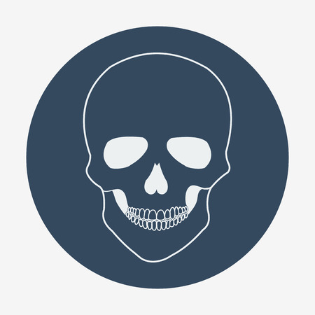 jelly head: Single flat skull icon. Vector illustration, easy paste to any background.