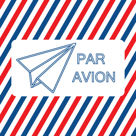 par: Par Avion or air mail vector illustration on the striped background. Flat style Illustration