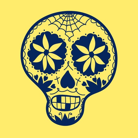 all saint day: Hand-drawn sugar skull. Vector illustration. Doodle style. Day of the Dead theme