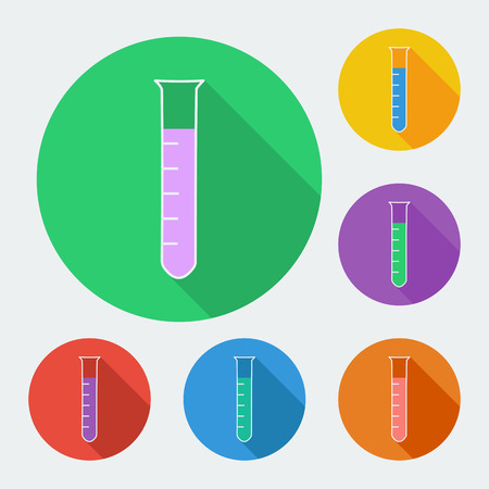 biochemical: Flat style icon with long shadow, test-tube vector illustration. Medical theme