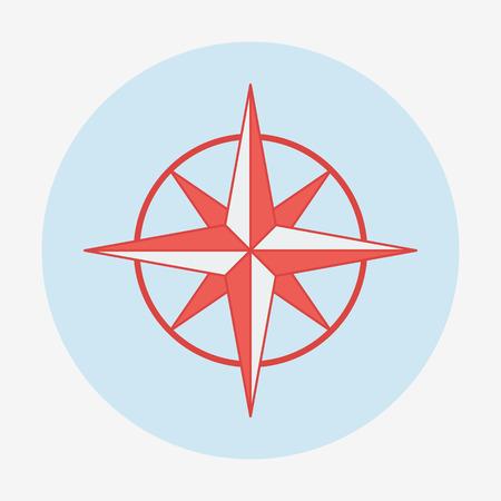 Pirate or sea theme icon, wind rose. Flat design vector illustration.