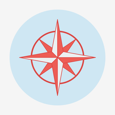 Pirate or sea theme icon, wind rose. Flat design vector illustration. Vector