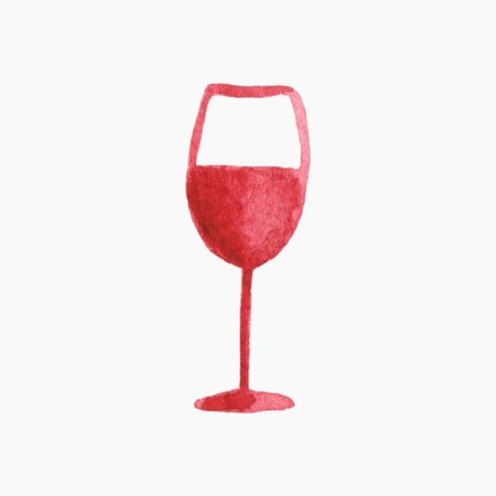 Vector illustration. Glass of red wine. Hand-drawn doodle object. Real watercolor drawing