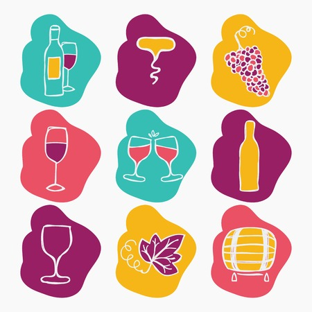 Set of wine making icons, vector illustration. Bottle, corkscrew,grape ripe, glass of wine, grape leaf, stain. Doodle style Vector