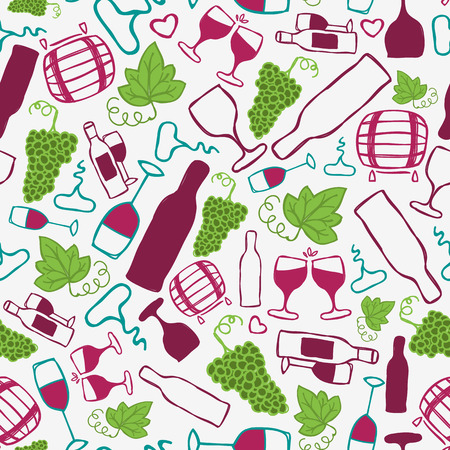 bottle screw: Hand-drawn seamless pattern. Vector illustration.  Wine theme. Doodle style