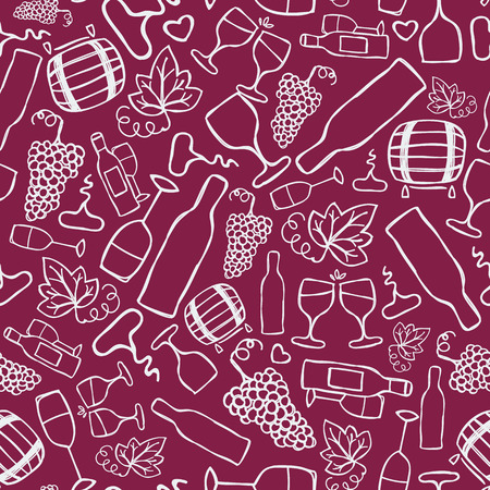 Hand-drawn seamless pattern. Vector illustration.  Wine theme. Doodle style Vector