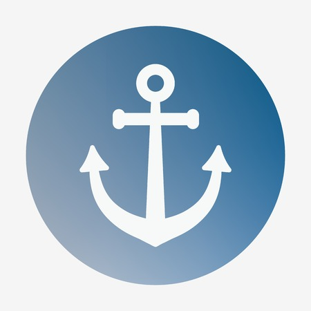 shipbuilder: Pirate or sea icon, anchor. Flat design vector illustration