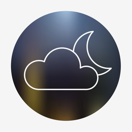 Weather flat style icon with cloud and moon. Vector illustration. Vector