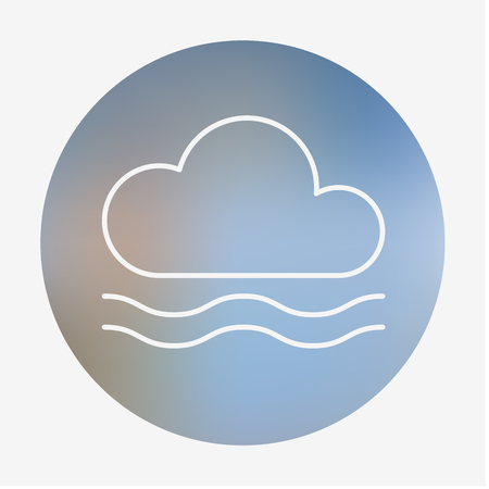 humidity: Weather flat style icon with fog. Vector illustration.