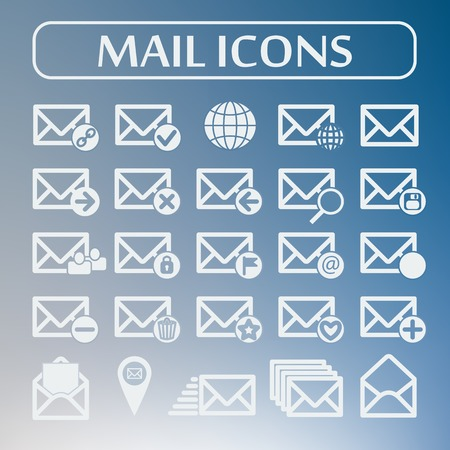 Set of flat vector mail icons. Vector illustration. Social networking and communication. Illustration