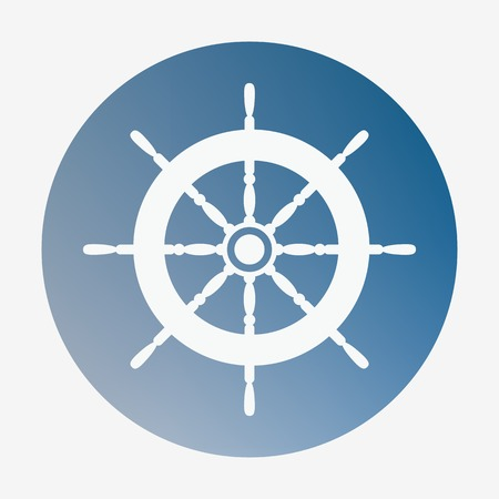 Pirate or sea icon, helm.  Flat design vector illustration Vector