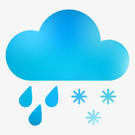 Weather flat style icon with cloud, drops and snowflakes. Vector illustration. Illustration