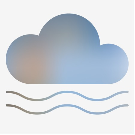 damp: Weather flat style icon with fog. Vector illustration.