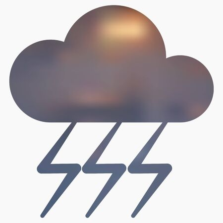 humid: Weather flat style icon with thunderstorm. Vector illustration.
