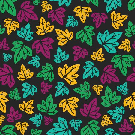 antiquarian: Seamless pattern with leaves. Vector illustration. Hand-drawn floral background. Illustration