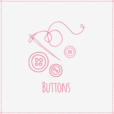 darn: Vector illustration. Hand-drawn pink buttons and needle.