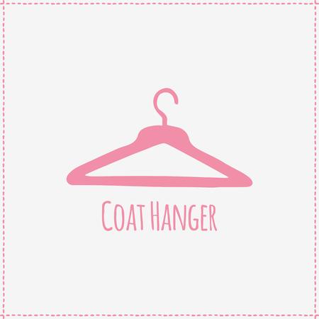 coat hanger: Vector illustration. Hand-drawn pink flat coat hanger. Illustration