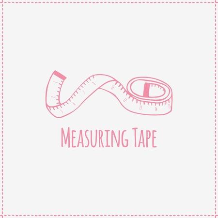 Vector illustration. Hand-drawn pink flat measuring tape