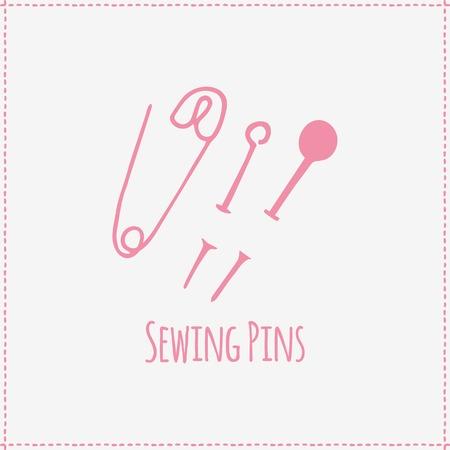 Vector illustration. Hand-drawn pink flat sewing pins