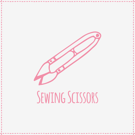 darn: Vector illustration. Hand-drawn pink flat sewing scissors
