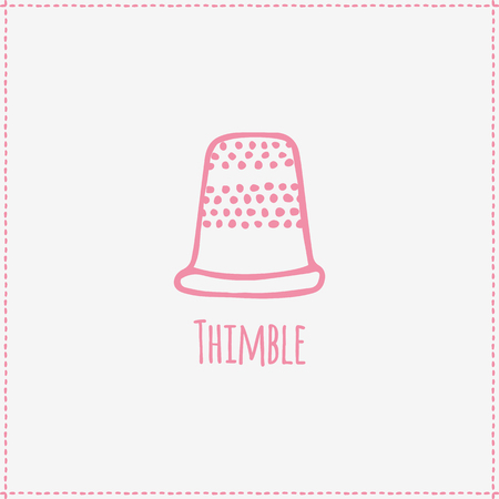 thimble: Vector illustration. Hand-drawn pink flat thimble. Sewing and tailoring Illustration