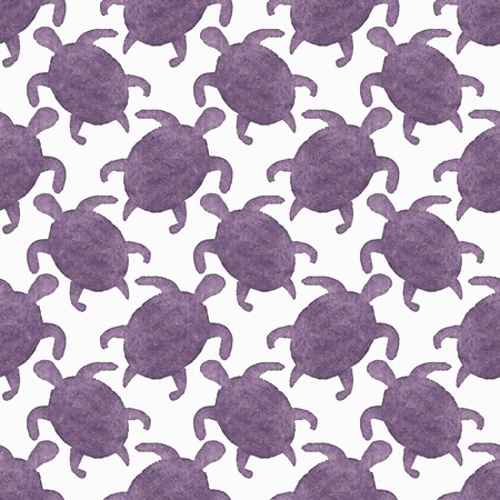 Watercolor seamless pattern with turtles on the white background, aquarelle.Vector illustration. Hand-drawn decorative element useful for invitations, scrapbooking, design. Native american stylization