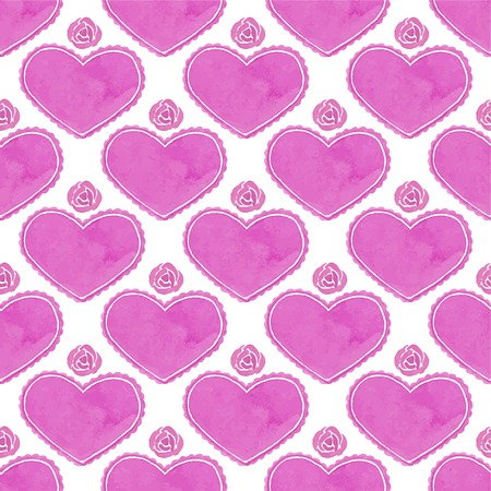 14th: Watercolor seamless pattern with victorian heart and flourishes on the white background, aquarelle.  Vector illustration. Hand-drawn decorative element useful for invitations, scrapbooking, design. Illustration