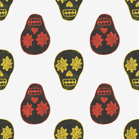 Seamless watercolor pattern with skary sugar skulls on the white background, aquarelle.  Vector illustration. Hand-drawn background. Useful for invitations, scrapbooking, design. Vettoriali