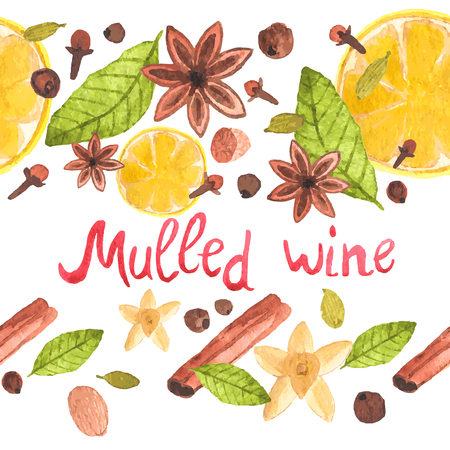 nutmeg: Seamless watercolor pattern with cinamon, ginger,cloves,allspice,cardamom, nutmeg, star anise on the white background, aquarelle.  Vector illustration. Hand-drawn background. Spices for mulled wine.