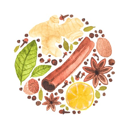 Vector watercolor circle design made of spices for mulled wine. Watercolor. Christmas or menu decor. Ideal for design and scrapbooking.