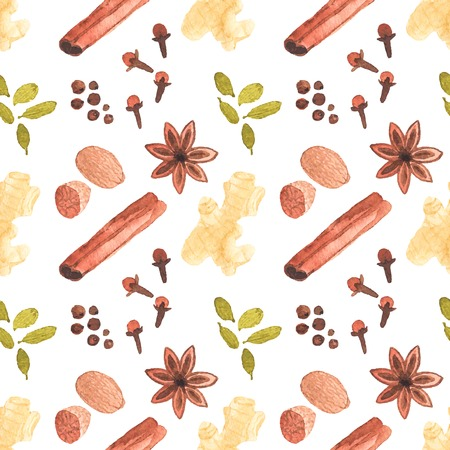 Seamless watercolor pattern with cinamon, ginger,cloves,allspice,cardamom  on the white background, aquarelle.  Vector illustration. Hand-drawn background. Vector