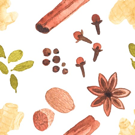 Seamless watercolor pattern with spices on the white background, aquarelle. Vector illustration. Hand-drawn background. Vector