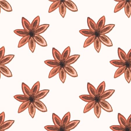 star anise: Seamless watercolor pattern with star anise on the white background, aquarelle.  Vector illustration. Hand-drawn background. Spice for mulled wine. Useful for invitations, scrapbooking, design. Illustration