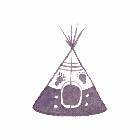 teepee: Watercolor teepee on the white background, aquarelle. Vector illustration. Hand-drawn decorative element useful for invitations, scrapbooking, design. Native american stylization