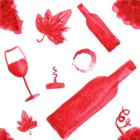 viticulture: Seamless watercolor pattern with wine stuff on the white background, aquarelle.  Vector illustration. Hand-drawn background. Original wine theme background. Useful for invitations, scrapbooking, design. Illustration