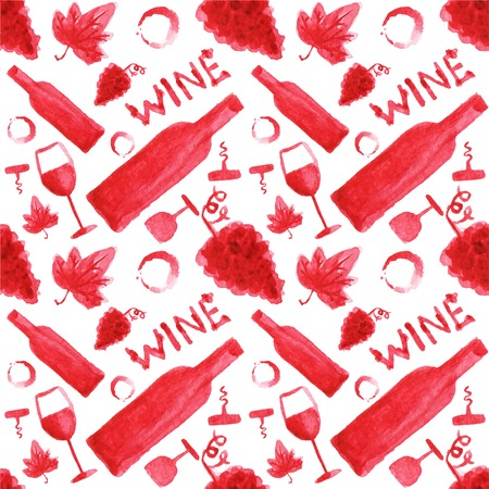 foodies: Seamless watercolor pattern with wine stuff on the white background, aquarelle.  Vector illustration. Hand-drawn background. Original wine theme background. Useful for invitations, scrapbooking, design. Illustration