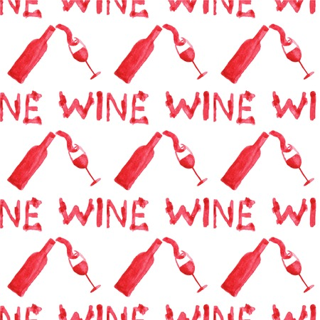 Seamless watercolor pattern with wine stuff on the white background, aquarelle.  Vector illustration. Hand-drawn background. Original wine theme background. Useful for invitations, scrapbooking, design. Illustration