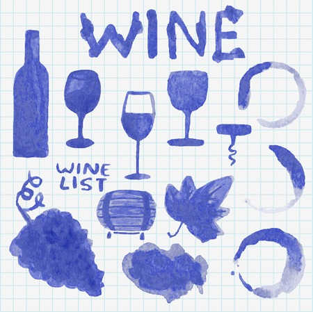 Set of watercolor wine stuff. Decoration and design. Sketch on the copybook sheet. Vector illustration. Easy to paste to any background