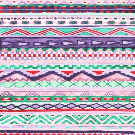 native indian: Nativo indio ornamento estilizaci�n. Acuarela o ilustraci�n acuarela. Vectores