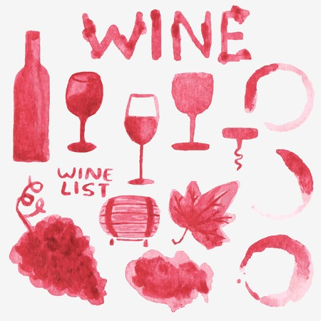 Set of watercolor wine stuff on the white background Vector
