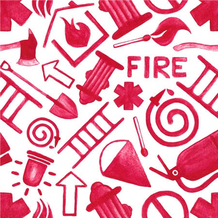 heroism: Watercolor background with firefighting symbols or icons on the white background, aquarelle pencil.  Vector illustration. Hand-drawn simple decorative elements useful for stands, posters, design. Non seamless Illustration