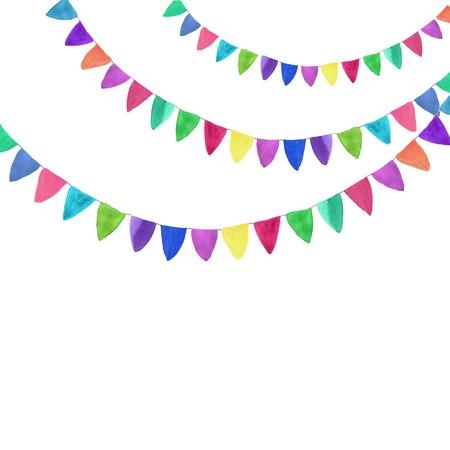 Multicolored bright buntings garlands 일러스트