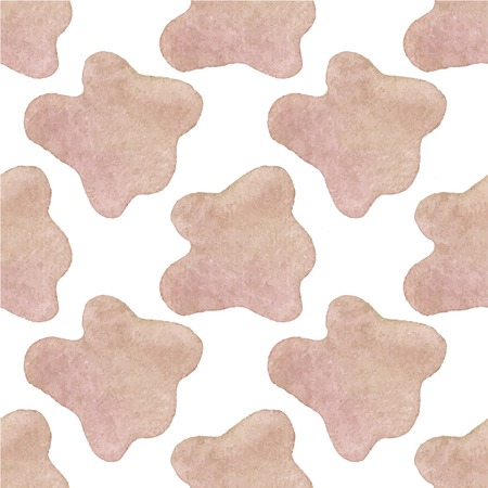 Seamless watercolor pattern with cow hide on the white background, aquarelle. Vector illustration. Hand-drawn background. Original vegetable background. Useful for invitations, scrapbooking, design.